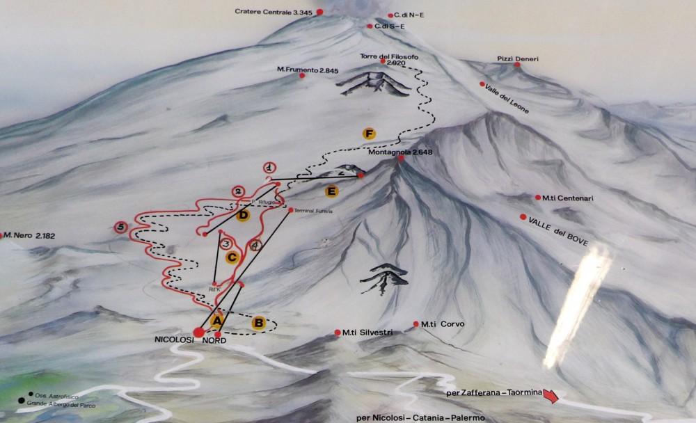 Etna mapa trekkingu